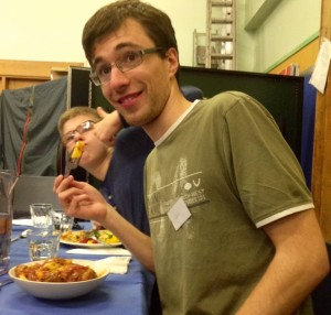 Team leader Andrew eating his 3rd helping!